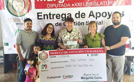 Margarita Corro continúa apoyando a familias, jóvenes y Asociaciones