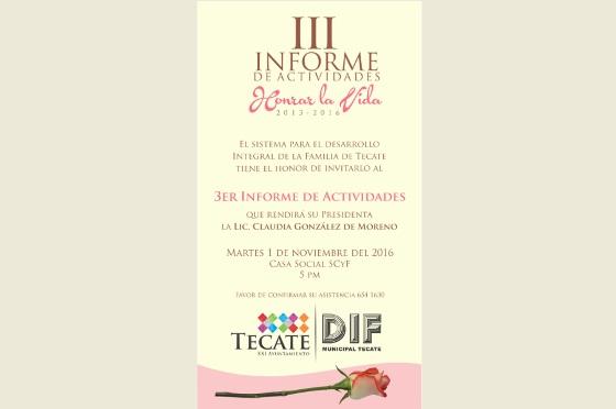 Invitan a 3er Informe de Actividades de DIF Tecate