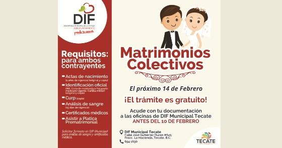 Extienden plazo de recepción de documentos para Matrimonios Colectivos