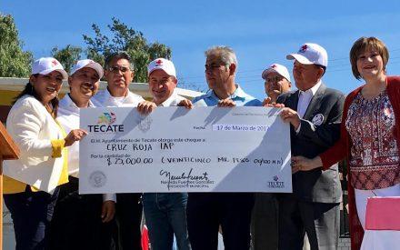 Aporta Gobierno de Tecate 25 mil pesos a Cruz Roja