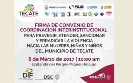 Con firma de convenio Interinstitucional celebrarán el Día Internacional de la Mujer