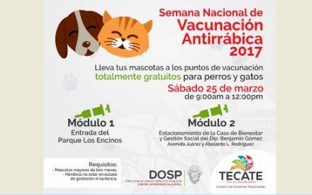 Arranca Semana Nacional de Vacunación Antirrábica en Tecate