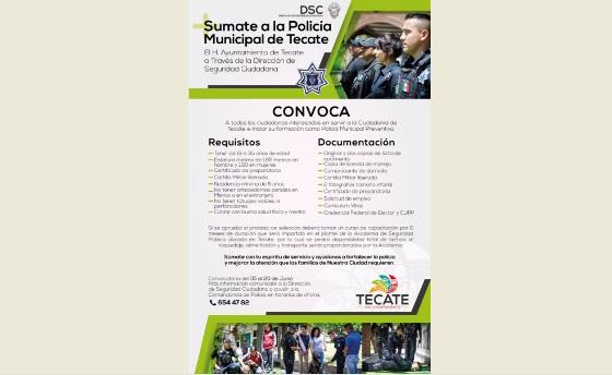 El Gobierno Municipal, convoca a iniciar formación como Policía Municipal Preventivo