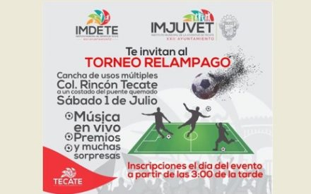 IMDETE abre convocatoria para torneo de fútbol en el Rincón Tecate