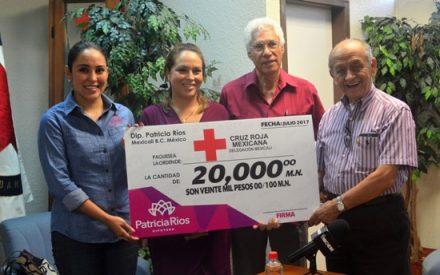 Diputada Patricia Ríos entrega apoyo a la Cruz Roja de Mexicali