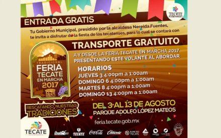Implementarán transporte gratuito para asistentes de la Feria Tecate en Marcha