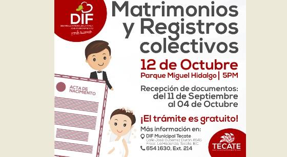 Inicia DIF Tecate recepción de documentos para Matrimonios y RegistrosColectivos