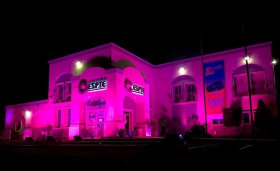 El Gobierno del Estado ilumina de rosa el edificio de CESPTE