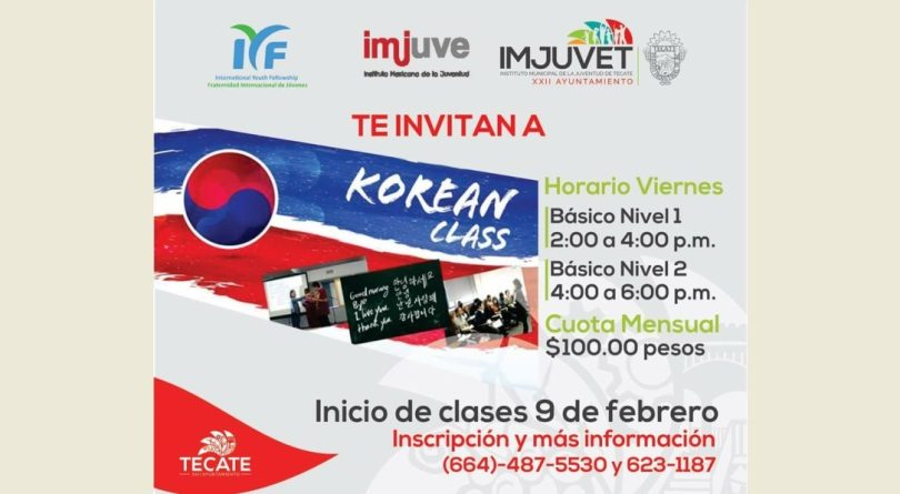 Imjuvet convoca a inscribirse al curso Korean Class