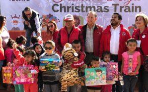 Llegó al Pueblo Mágico el tren de la felicidad, entregan regalos a niñas y niños