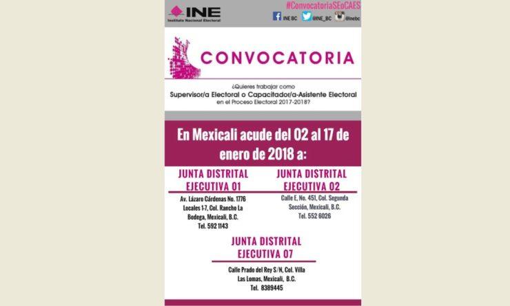Convoca INE a trabajar como supervisores y capacitadores-asistentes electorales