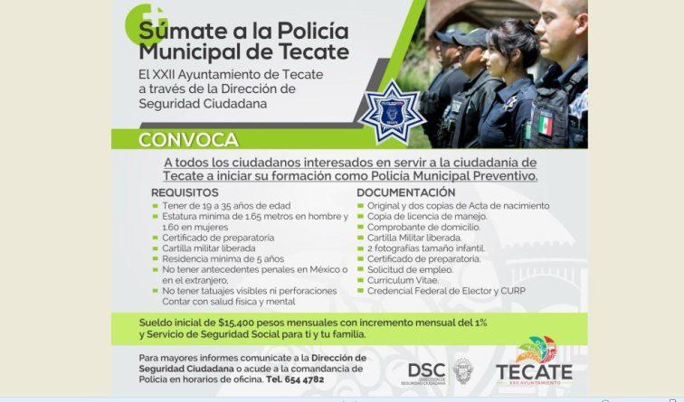Ayuntamiento de Tecate convoca a iniciar formación como Policía Municipal