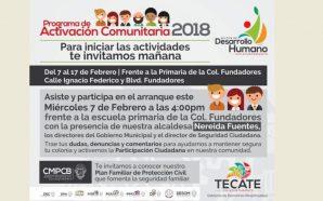 Miércoles 7 de febrero Ayuntamiento llevará Programa de Activación Comunitaria a Fundadores