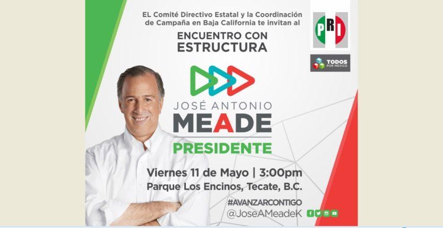 Confirma PRI BC visita de Meade al Estado