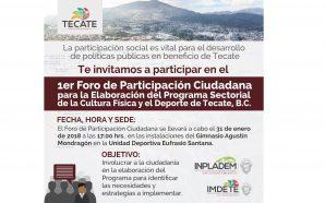 Invitan al 1er Foro de Participación Ciudadana para la Elaboración…