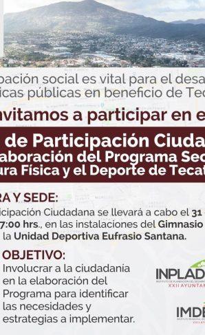 Invitan al 1er Foro de Participación Ciudadana para la Elaboración delPrograma Sectorial de la Cultura Física y el Deporte de Tecate