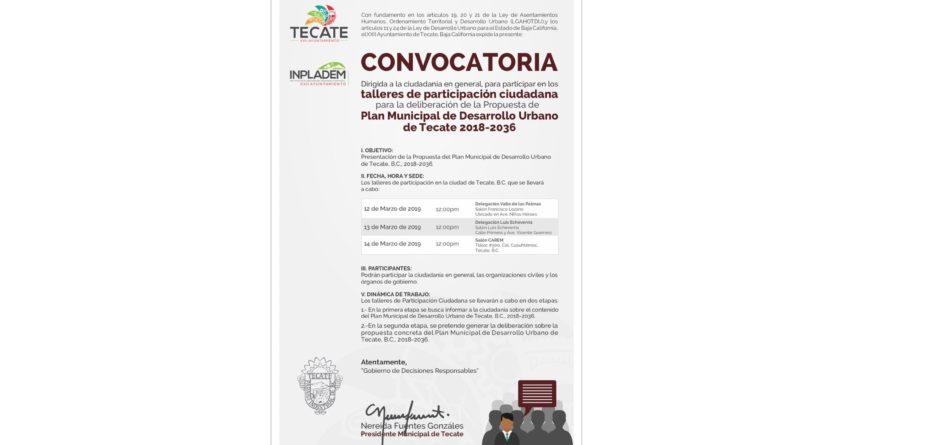 Gobierno Municipal convoca a los talleres de Participación Ciudadana