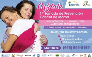 "Próximo sábado se llevará a cabo la Primer Jornada de PrevenciónCáncer de Mama ""Cuídate"""