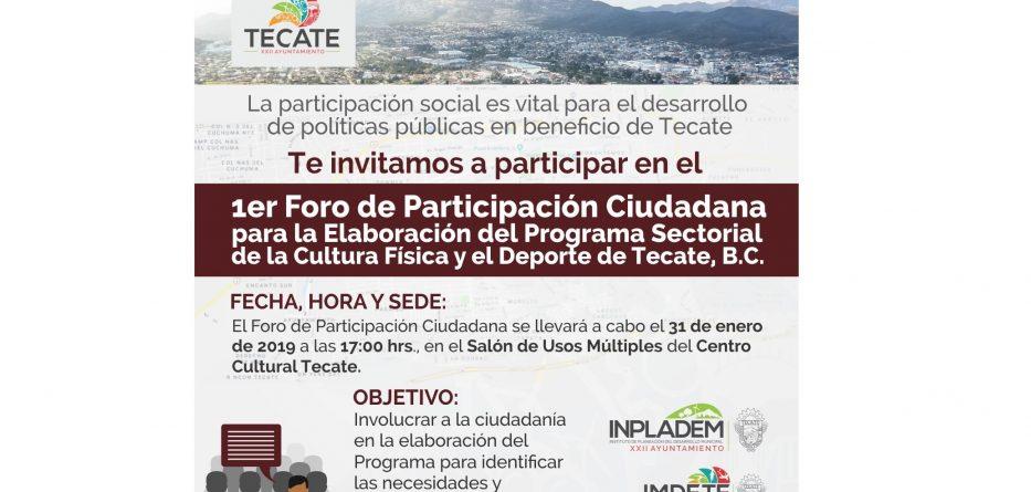 Jueves 30 de enero se realizará el 1er Foro para elaborar el Programa de Cultura y Deporte en Tecate