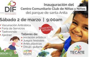 Gobierno de Tecate invita a la inauguración del Centro de Niñas y Niños